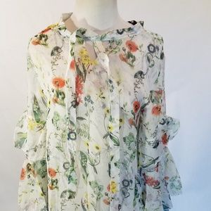 INA Womens Blouse M Floral Sheer
